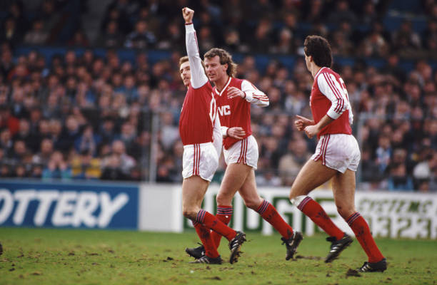 BRIGHTON, UNITED KINGDOM - JANUARY 30: Arsenal player Kevin Richardson (l) celebrates the winning goal with Graham Rix (c) and David O' Leary during an FA Cup 4th Round match against Brighton and Hove Albion at the Goldstone Ground on January 30, 1988 in Brighton, England. (Photo by Allsport/Getty Images)