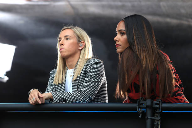 LE HAVRE, FRANCE - JUNE 14: Jordan Nobbs and Alex Scott look on from the TV studio during the 2019 FIFA Women's World Cup France group D match between England and Argentina at on June 14, 2019 in Le Havre, France. (Photo by Marc Atkins/Getty Images)