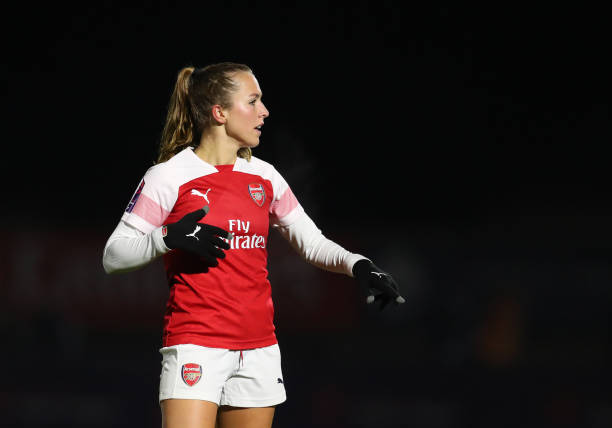BOREHAMWOOD, ENGLAND - JANUARY 09: Lia Walti of Arsenal during the FA WSL Continental Tyres Cup Quarter-Final between Arsenal Women and Birmingham City Women at Meadow Park on January 9, 2019 in Borehamwood, England. (Photo by Catherine Ivill/Getty Images)