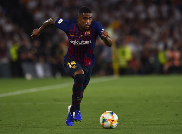 SEVILLE, SPAIN - MAY 25: Malcom of FC Barcelona in action during the Spanish Copa del Rey match between Barcelona and Valencia at Estadio Benito Villamarin on May 25, 2019 in Seville, Spain. (Photo by Denis Doyle/Getty Images)