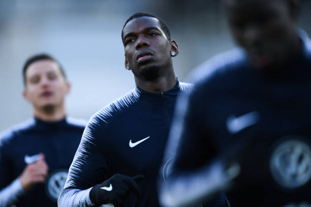 ANDORRA LA VELLA, ANDORRA - JUNE 11: Paul Pogba of France looks on during the warm up prior to the UEFA Euro 2020 Qualification match between Andorra and France at Estadi Nacional on June 11, 2019 in Andorra la Vella, Andorra. (Photo by David Ramos/Getty Images)