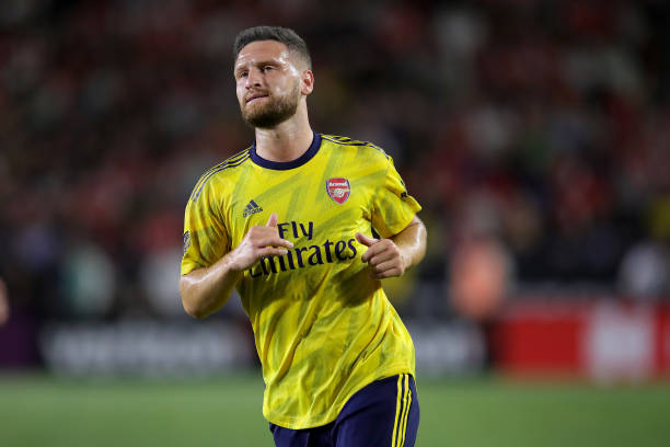 CARSON, CALIFORNIA - JULY 17: Shkodran Mustafi of Arsenal London looks on during the 2019 International Champions Cup match between Arsenal London and FC Bayern Muenchen at Dignity Health Sports Park on July 17, 2019 in Carson, California. (Photo by Alexander Hassenstein/Bongarts/Getty Images)
