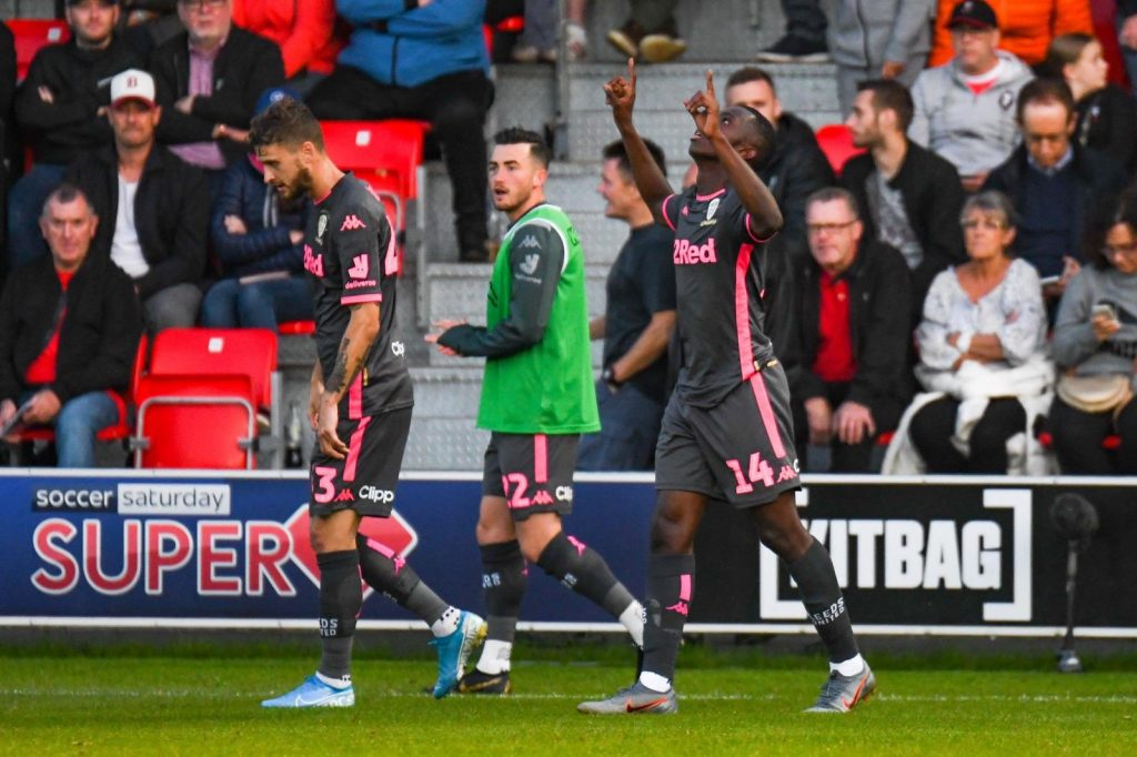 SALFORD, ENGLAND - AUGUST 13: Eddie Nketiah of Leeds United after scoring the opening goal during the Carabao Cup First Round match between Salford City and Leeds United at Moor Lane on August 13, 2019, in Salford, England. (Photo via Getty Images)