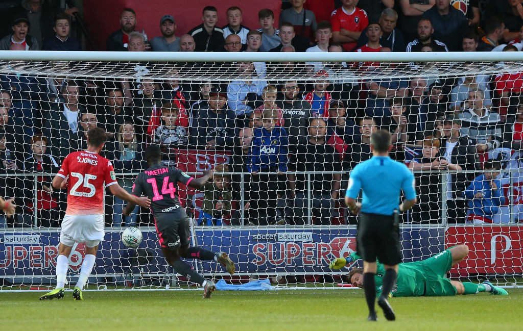 SALFORD, ENGLAND - AUGUST 13: Eddie Nketiah of Leeds United scores the opening goal during the Carabao Cup First Round match between Salford City and Leeds United at Moor Lane on August 13, 2019, in Salford, England. (Photo by Alex Livesey/Getty Images)