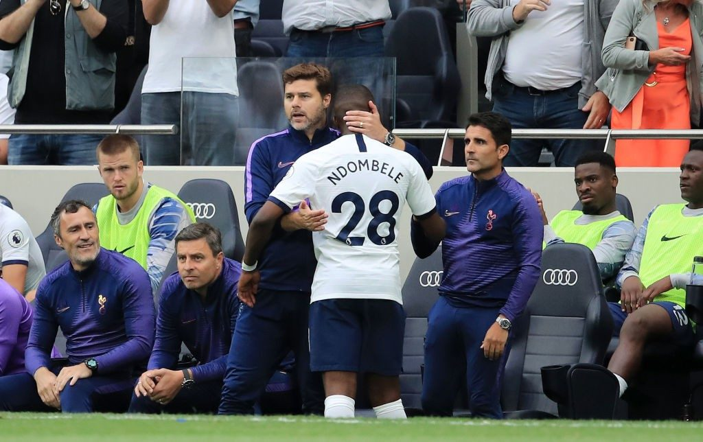 LONDON, ENGLAND - AUGUST 10: Tanguy Ndombele of Tottenham Hotspur is greeted by Mauricio Pochettino, Manager of Tottenham Hotspur after Tanguy Ndombele is substituted off during the Premier League match between Tottenham Hotspur and Aston Villa at Tottenham Hotspur Stadium on August 10, 2019, in London, United Kingdom. (Photo by Marc Atkins/Getty Images)