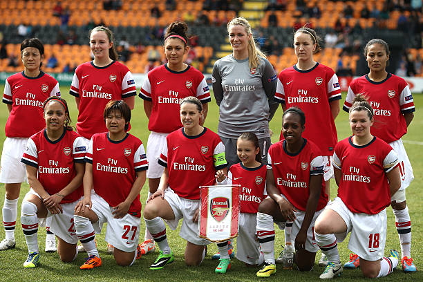 EDGWARE, ENGLAND - MARCH 30: The Arsenal Ladies team pose for a team photo during the Womens UEFA Champions League Quarter Final match between Arsenal Ladies and Birmingham City Ladies at The Hive on March 30, 2014 in Edgware, England. (Photo by Charlie Crowhurst/Getty Images)