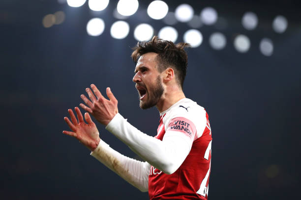 LONDON, ENGLAND - FEBRUARY 27: Carl Jenkinson of Arsenal reacts during the Premier League match between Arsenal FC and AFC Bournemouth at Emirates Stadium on February 27, 2019 in London, United Kingdom. (Photo by Catherine Ivill/Getty Images)