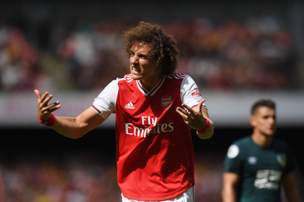 LONDON, ENGLAND - AUGUST 17: David Luiz of Arsenal reacts during the Premier League match between Arsenal FC and Burnley FC at Emirates Stadium on August 17, 2019 in London, United Kingdom. (Photo by Michael Regan/Getty Images)