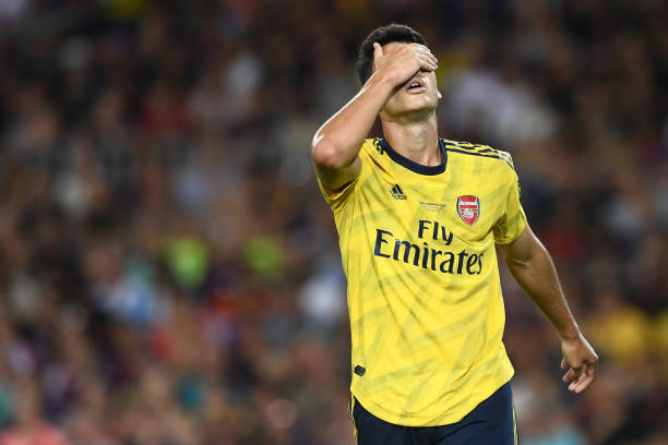 Arsenal's Brazilian striker Gabriel Martinelli reacts to missing a goal opportunity during the 54th Joan Gamper Trophy friendly football match between Barcelona and Arsenal at the Camp Nou stadium in Barcelona on August 4, 2019. (Photo by Josep LAGO / AFP)