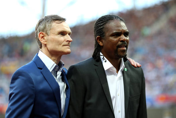 VOLGOGRAD, RUSSIA - JUNE 22: FIFA Legends Birkir Kristinsson of Iceland and Nwanko Kanu of Nigeria prior to the 2018 FIFA World Cup Russia group D match between Nigeria and Iceland at Volgograd Arena on June 22, 2018 in Volgograd, Russia. (Photo by Catherine Ivill/Getty Images)