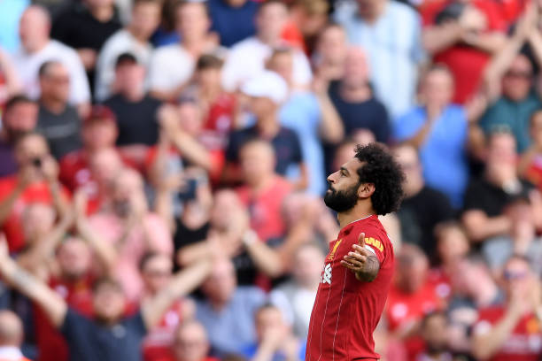 LIVERPOOL, ENGLAND - AUGUST 24: Mohamed Salah of Liverpool celebrates after scoring his team's second goal during the Premier League match between Liverpool FC and Arsenal FC at Anfield on August 24, 2019 in Liverpool, United Kingdom. (Photo by Laurence Griffiths/Getty Images)