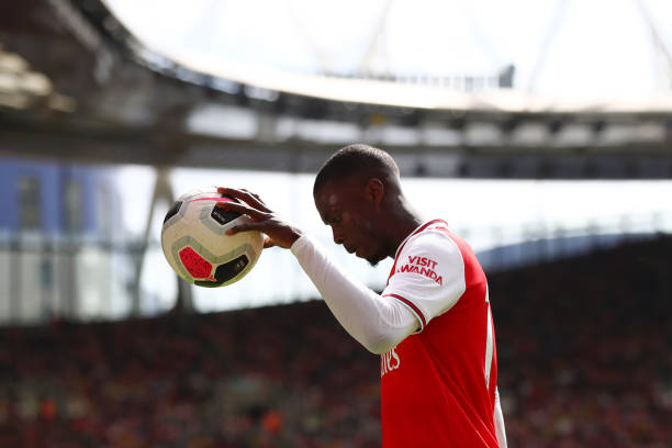 LONDON, ENGLAND - AUGUST 17: Nicolas Pepe of Arsenal looks on during the Premier League match between Arsenal FC and Burnley FC at Emirates Stadium on August 17, 2019 in London, United Kingdom. (Photo by Julian Finney/Getty Images)