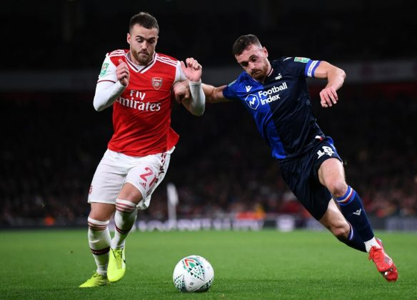 LONDON, ENGLAND - SEPTEMBER 24: Calum Chambers of Arsenal battles for the ball with Jack Robinson of Nottingham Forest during the Carabao Cup Third Round match between Arsenal FC and Nottingham Forrest at Emirates Stadium on September 24, 2019, in London, England. (Photo by Laurence Griffiths/Getty Images)