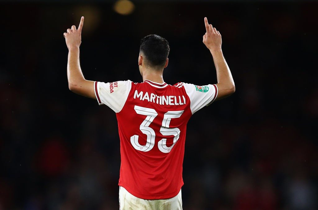 LONDON, ENGLAND - SEPTEMBER 24: Gabriel Martinelli of Arsenal celebrates scoring the fifth goal during the Carabao Cup Third Round match between Arsenal and Nottingham Forest at Emirates Stadium on September 24, 2019, in London, England. (Photo by Julian Finney/Getty Images)
