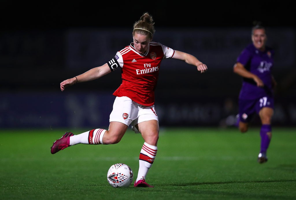 BOREHAMWOOD, ENGLAND - SEPTEMBER 26: Kim Little of Arsenal in action during the UEFA Women's Champions League match between Arsenal Women and Fiorentina Women at Meadow Park on September 26, 2019, in Borehamwood, England. (Photo by Julian Finney/Getty Images)