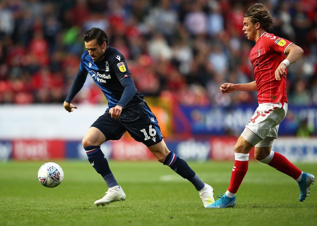 LONDON, ENGLAND - AUGUST 20: Carl Jenkinson of Charlton moves away from Conor Gallagher of Charlton during the Sky Bet Championship match between Charlton Athletic and Nottingham Forrest at The Valley on August 20, 2019, in London, England. (Photo by Julian Finney/Getty Images)