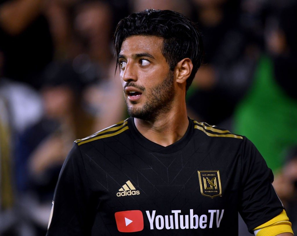 LOS ANGELES, CALIFORNIA - APRIL 13: Carlos Vela #10 of Los Angeles FC reacts after earning a corner kick during a 2-0 win over FC Cincinnati at Banc of California Stadium on April 13, 2019, in Los Angeles, California. (Photo by Harry How/Getty Images)