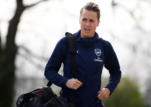 BIRMINGHAM, ENGLAND - MARCH 31: Viktoria Schnaderbeck of Arsenal arrives during the FA WSL match between Birmingham City Women and Arsenal on March 31, 2019 in Birmingham, England. (Photo by Alex Davidson/Getty Images)