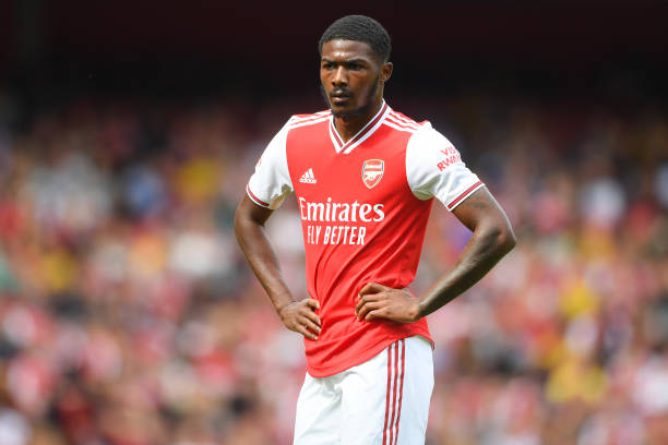 LONDON, ENGLAND - JULY 28: Ainsley Maitland-Niles of Arsenal in action during the Emirates Cup match between Arsenal and Olympique Lyonnais at the Emirates Stadium on July 28, 2019 in London, England. (Photo by Michael Regan/Getty Images)