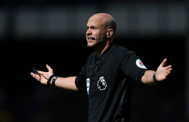 LIVERPOOL, ENGLAND - SEPTEMBER 01: Referee Anthony Taylor during the Premier League match between Everton FC and Wolverhampton Wanderers at Goodison Park on September 01, 2019 in Liverpool, United Kingdom. (Photo by Jan Kruger/Getty Images)
