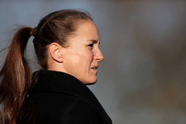 BROMLEY, ENGLAND - NOVEMBER 18: Casey Stoney, Manager of Manchester United Women looks on prior tothe FA Women's Championship match between Crystal Palace and Manchester United at Hayes Lane on November 18, 2018 in Bromley, England. (Photo by James Chance/Getty Images)