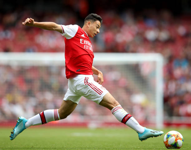 LONDON, ENGLAND - JULY 28: Gabriel Martinelli of Arsenal during the Emirates Cup match between Arsenal and Olympique Lyonnais at Emirates Stadium on July 28, 2019 in London, England. (Photo by Alex Pantling/Getty Images)