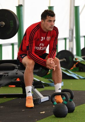 ST ALBANS, ENGLAND - SEPTEMBER 12: Granit Xhaka of Arsenal during the Arsenal Training Session at London Colney on September 12, 2019 in St Albans, England. (Photo by David Price/Arsenal FC via Getty Images)