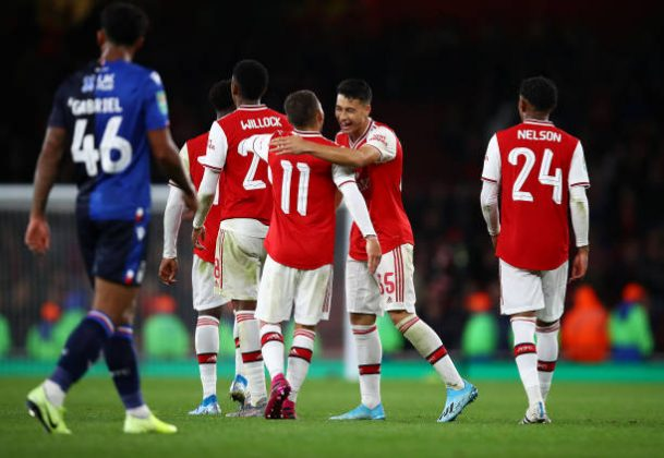 LONDON, ENGLAND - SEPTEMBER 24: Gabriel Martinelli of Arsenal celebrates scoring the fifth goal during the Carabao Cup Third Round match between Arsenal and Nottingham Forest at Emirates Stadium on September 24, 2019 in London, England. (Photo by Julian Finney/Getty Images)