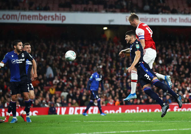 LONDON, ENGLAND - SEPTEMBER 24: Rob Holding of Arsenal scores the second goal during the Carabao Cup Third Round match between Arsenal and Nottingham Forest at Emirates Stadium on September 24, 2019 in London, England. (Photo by Julian Finney/Getty Images)