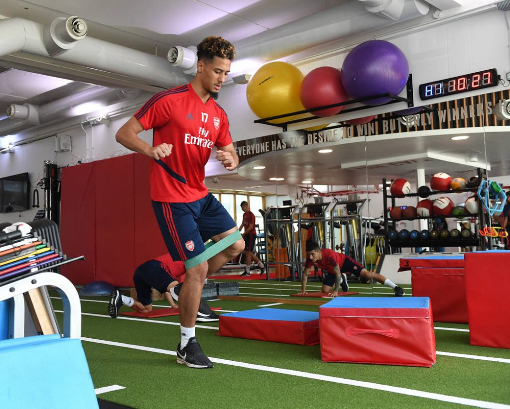 ST ALBANS, ENGLAND - SEPTEMBER 13: William Saliba of Arsenal during a training session at London Colney on September 13, 2019 in St Albans, England. (Photo by Stuart MacFarlane/Arsenal FC via Getty Images)