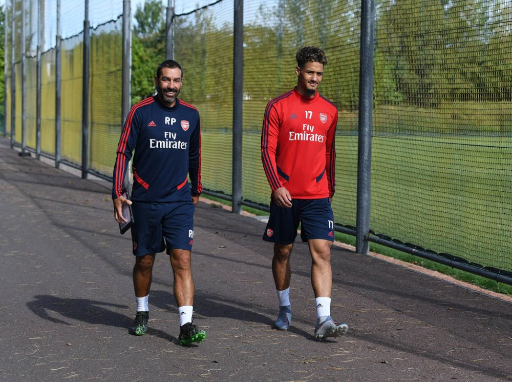 ST ALBANS, ENGLAND - SEPTEMBER 13: of Arsenal during a training session at London Colney on September 13, 2019 in St Albans, England. (Photo by Stuart MacFarlane/Arsenal FC via Getty Images)