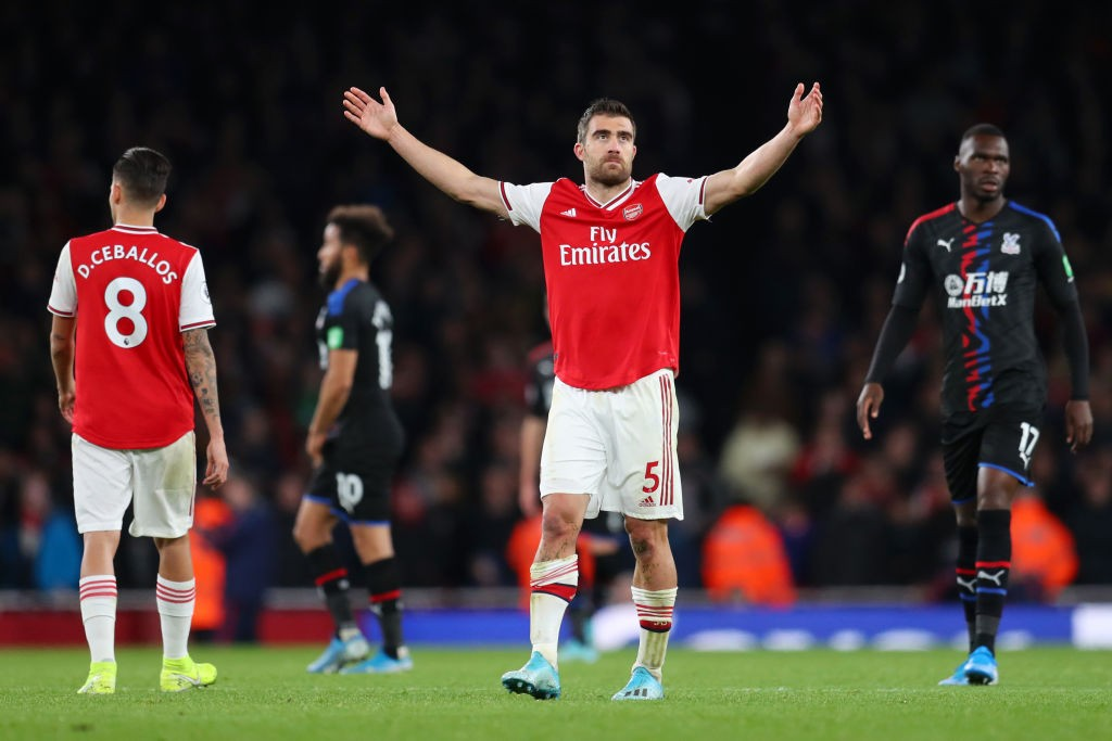 LONDON, ENGLAND - OCTOBER 27: Sokratis Papastathopoulos of Arsenal reacts to having his team's third goal disallowed following a VAR check during the Premier League match between Arsenal FC and Crystal Palace at Emirates Stadium on October 27, 2019, in London, United Kingdom. (Photo by Catherine Ivill/Getty Images)