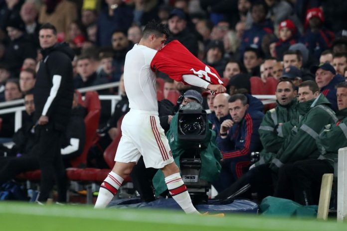 LONDON, ENGLAND - OCTOBER 27: Granit Xhaka of Arsenal leaves the pitch after being substituted off during the Premier League match between Arsenal FC and Crystal Palace at Emirates Stadium on October 27, 2019, in London, United Kingdom. (Photo by Alex Morton/Getty Images)