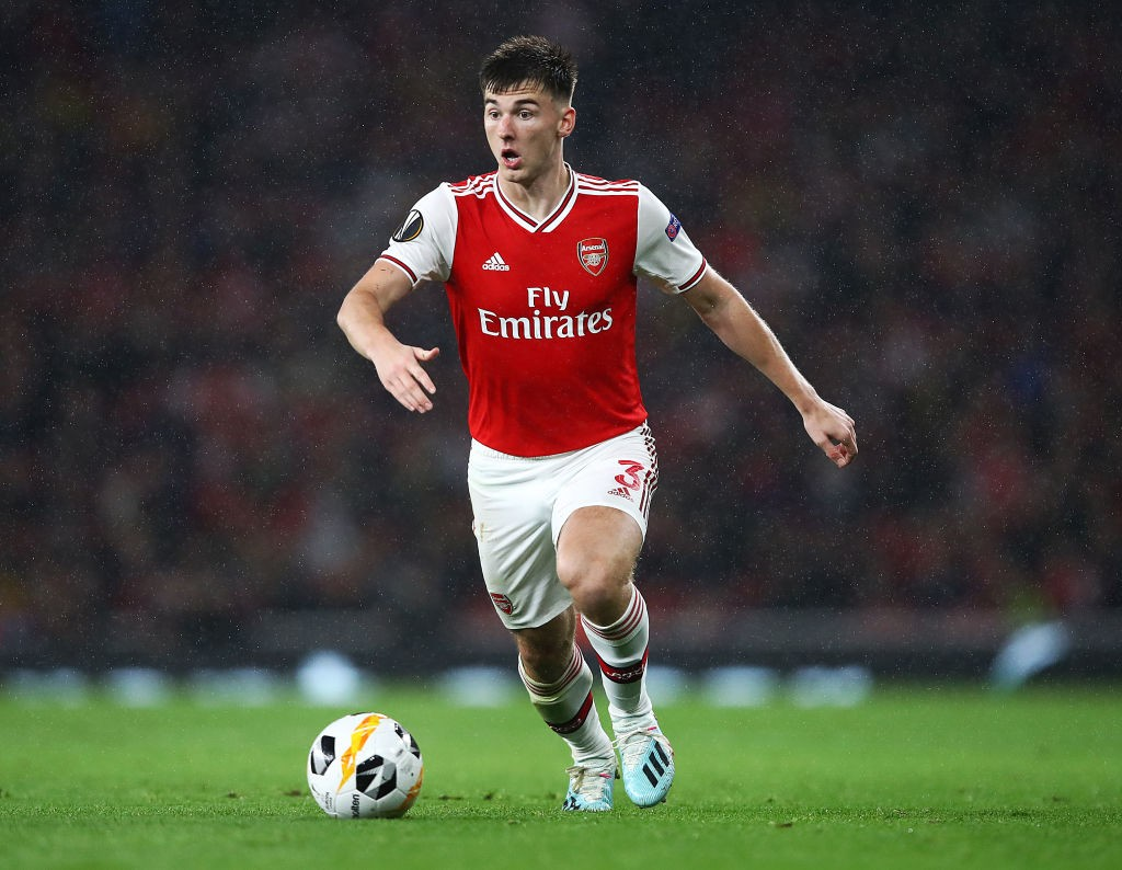 LONDON, ENGLAND - OCTOBER 03: Kieran Tierney of Arsenal in action during the UEFA Europa League group F match between Arsenal FC and Standard Liege at Emirates Stadium on October 03, 2019, in London, United Kingdom. (Photo by Julian Finney/Getty Images)