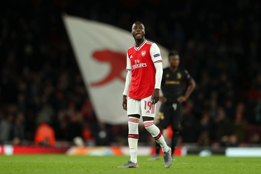 LONDON, ENGLAND - OCTOBER 24: Nicolas Pepe of Arsenal looks on after the final whistle during the UEFA Europa League group F match between Arsenal FC and Vitoria Guimaraes at Emirates Stadium on October 24, 2019, in London, United Kingdom. (Photo by Naomi Baker/Getty Images)