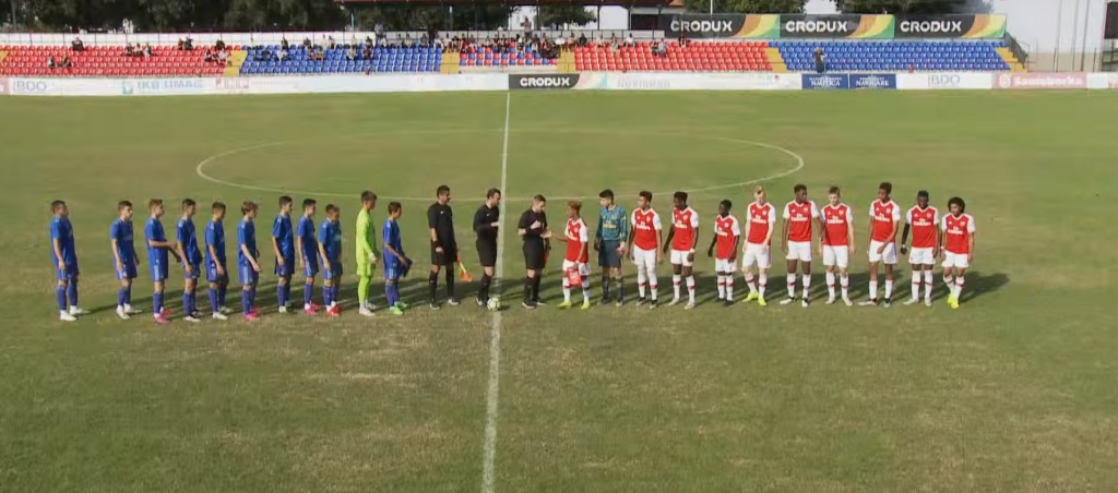 Arsenal u16s lineup against Zagreb in the Istria Youth Cup