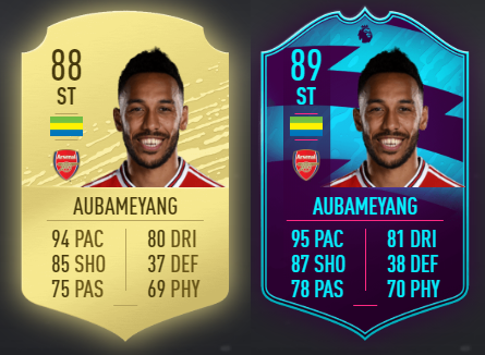 Pierre-Emerick Aubameyang FIFA card comparison, basic card versus POTM (Photos via Futhead.com)