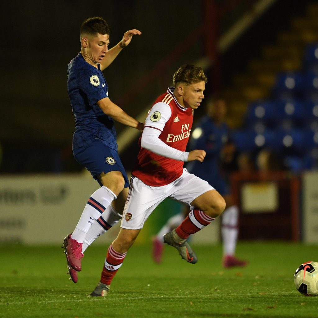 Ben Cottrell playing against Chelsea u23s (Photo via Twitter / ArsenalAcademy)