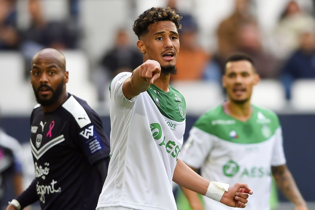 Saint-Etienne's French defender William Saliba gestures during the French L1 football match between Bordeaux and Saint-Etienne (ASSE) on October 20, 2019, at the Matmut Atlantique stadium in Bordeaux, southwestern France. (Photo by NICOLAS TUCAT / AFP / Getty Images)