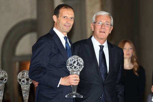 FLORENCE, ITALY - MAY 20: Massimiliano Allegri manager of Juventus FC and Marcello Lippi during the FIGC Hall of Fame 2019 on May 20, 2019 in Florence, Italy. (Photo by Gabriele Maltinti/Getty Images)