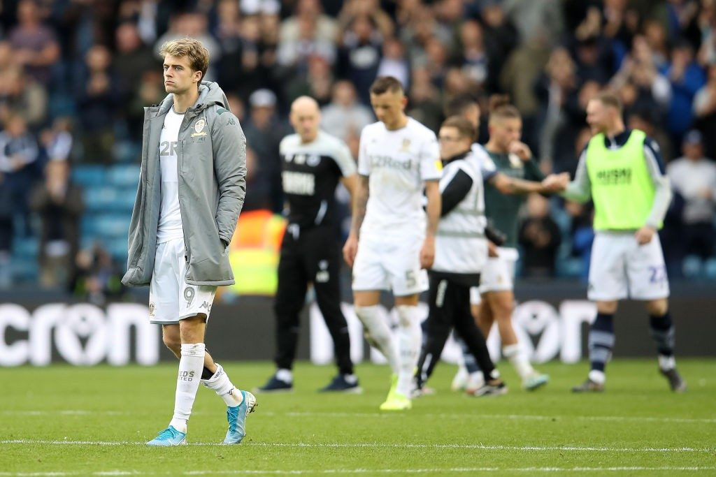 LONDON, ENGLAND - OCTOBER 05: Patrick Bamford of Leeds looks dejected after the match during the Sky Bet Championship match between Millwall and Leeds United at The Den on October 05, 2019, in London, England. (Photo by Christopher Lee/Getty Images)