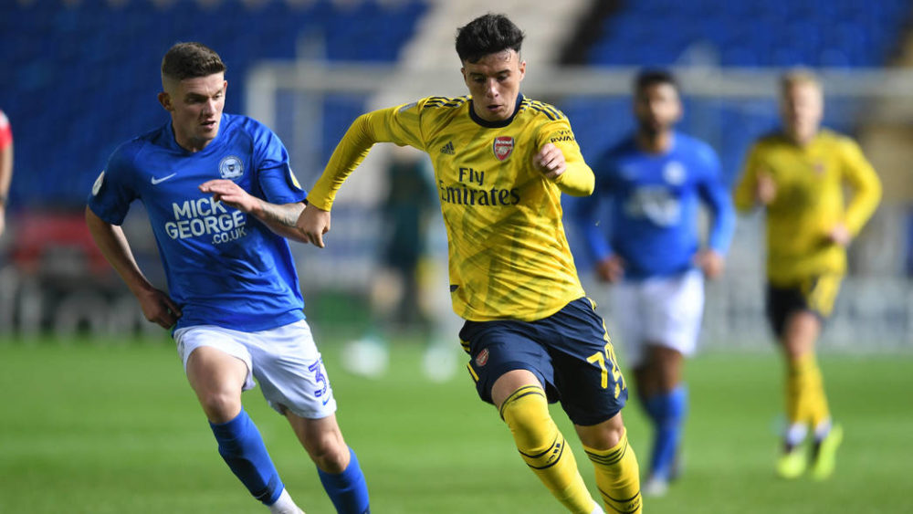 PETERBOROUGH, ENGLAND - OCTOBER 01: Sam Greenwood of Arsenal during the Leasing.com Cup match between Peterborough United and Arsenal U21 at Weston Homes Stadium on October 01, 2019, in Peterborough, England. (Photo by David Price/Arsenal FC via Getty Images)