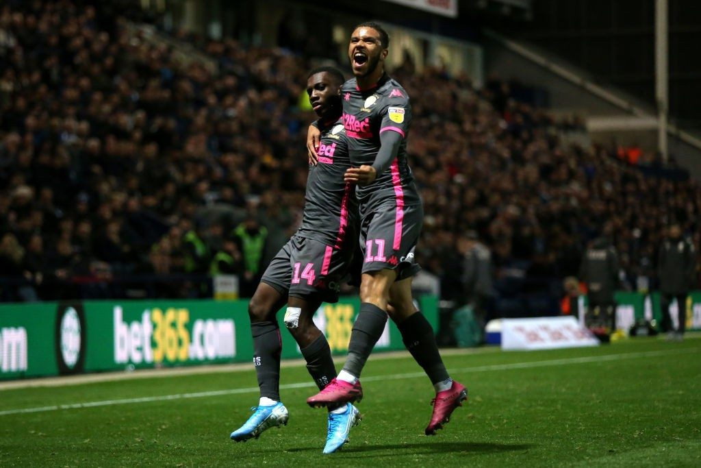 PRESTON, ENGLAND - OCTOBER 22: Eddie Nketiah of Leeds United celebrates scoring his sides first goal during the Sky Bet Championship match between Preston North End and Leeds United at Deepdale on October 22, 2019, in Preston, England. (Photo by Lewis Storey/Getty Images)