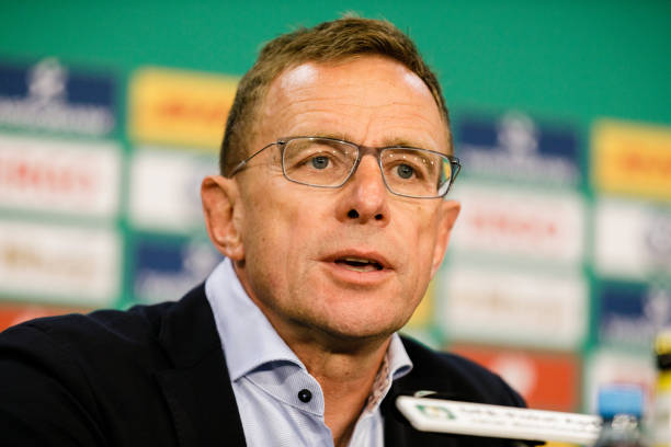 BERLIN, GERMANY - MAY 25: Coach Ralf Rangnick of RB Leipzig is seen during a press conference after the DFB Cup final between RB Leipzig and Bayern Muenchen at Olympiastadion on May 25, 2019 in Berlin, Germany. (Photo by Reinaldo Coddou H./Bongarts/Getty Images)