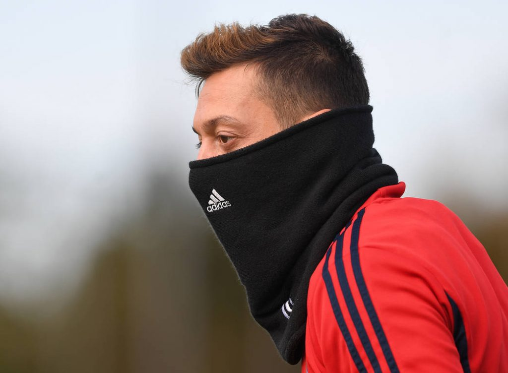 ST ALBANS, ENGLAND - OCTOBER 29: Mesut Ozil of Arsenal during a training session at London Colney on October 29, 2019, in St Albans, England. (Photo by Stuart MacFarlane/Arsenal FC via Getty Images)