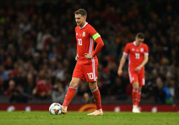 CARDIFF, WALES - OCTOBER 11:  Aaron Ramsey of Wales looks dejected during the International Friendly match between Wales and Spain on October 11, 2018 in Cardiff, United Kingdom.  (Photo by Dan Mullan/Getty Images)