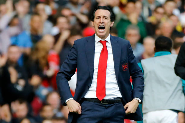 Arsenal's Spanish head coach Unai Emery gestures on the touchline during the English Premier League football match between Arsenal and Bournemouth at the Emirates Stadium in London on October 6, 2019. (Photo by Tolga AKMEN / AFP)