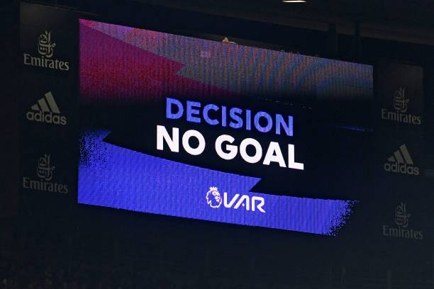 The scoreboard displays the VAR (Video Assistant Referee) decision disallowing Arsenal's third goal by Arsenal's Greek defender Sokratis Papastathopoulos during the English Premier League football match between Arsenal and Crystal Palace at the Emirates Stadium in London on October 27, 2019. (Photo by DANIEL LEAL-OLIVAS / AFP)