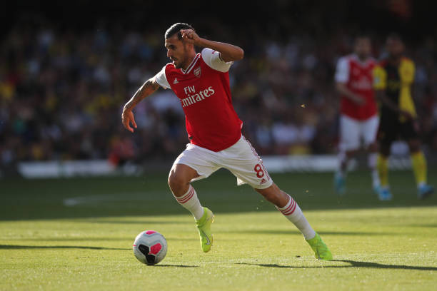 WATFORD, ENGLAND - SEPTEMBER 15: Dani Ceballos of Arsenal during the Premier League match between Watford FC and Arsenal FC at Vicarage Road on September 14, 2019 in Watford, United Kingdom. (Photo by Marc Atkins/Getty Images)