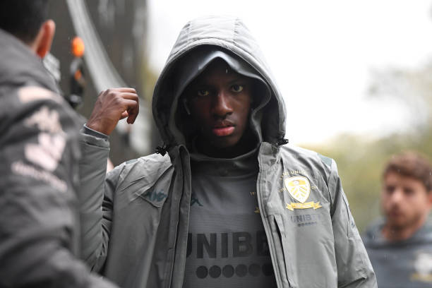 SHEFFIELD, ENGLAND - OCTOBER 26: Eddie Nketiah of Leeds United arrives prior to the Sky Bet Championship match between Sheffield Wednesday and Leeds United at Hillsborough Stadium on October 26, 2019 in Sheffield, England. (Photo by George Wood/Getty Images)